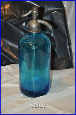 Vintage Blue Seltzer Bottle Sartay Beverages Brooklyn New York