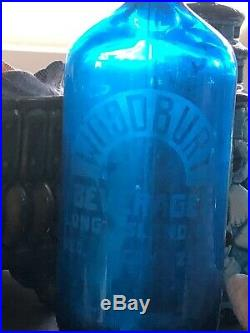Vintage Blue Seltzer Works Bottle Woodbury New York-pair-set Of Two