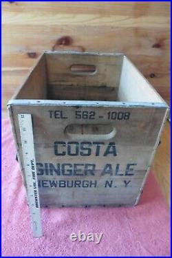 Vintage Costa Beverages Newburgh NY Ginger Ale Soda Bottle Shipping Crate Wooden