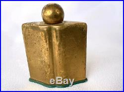 Vintage Coty Emeraude Brass Perfume Bottle New York Mid Century Modern