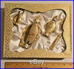 Vintage Evening In Paris Set By Bourjois New York Gold Plated Bottles - 1078