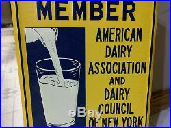 Vintage Farm Feed Milk Dairy Sign American Dairy Association New York Nos Sign