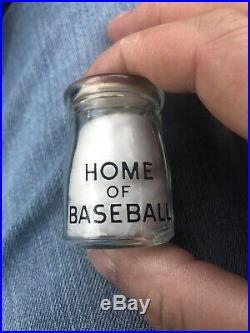 Vintage Glass Johnsons Dairy Cooperstown NY Pyroglaze Creamer Home Of Baseball