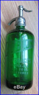 Vintage Green Glass Seltzer Bottle AL Blum Bronx, NY 26 Oz. Heavy- FREE SHIP