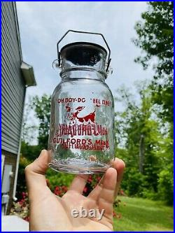 Vintage Guilford Dairy NC NY Milk Bottle Lid Bail Handle Pyro ACL Quart Size