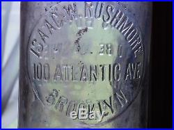 Vintage Isaac W Rushmore Brooklyn Ny 1 One Quart Milk Bottle