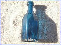 Vintage J&A DEARBORN NEW YORK MINERAL WATER /SODA BOTTLE COLBALT BLUE 8 SIDED