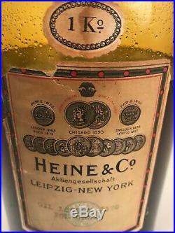 Vintage Locust Oil For Cream Glass Bottle Heine & Co Leipzig New York