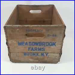 Vintage Meadowbrook Farms Bronx Ny Wood Metal Milk Bottle Advertise Cow