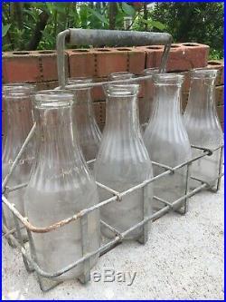 Vintage Milk Bottle Carrier & Quart Bottles Greenport Long Island Dairy New York