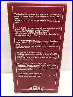 Vintage Nat Sherman New York Hammered Hip 6 oz. Flask / Cigar Case -Made England