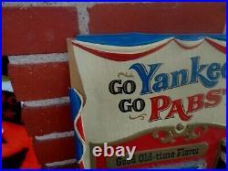 Vintage New York Yankees & Pabst Beer Bottle Baseball Ny Sign Advertising