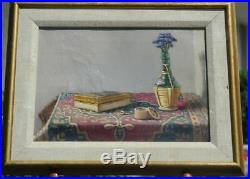 Vintage Oil on Canvas Still Life With Wine Bottle by NY Artist Nancy Peel Gladwell