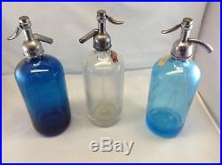 Vintage Original Glass Seltzer Bottle Lot (3) Blue, Clear, and Blue NY area