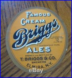 Vintage Pre-pro T Briggs Brewing Co Cream Ale 12 Oz Beer Bottle Label Elmira Ny