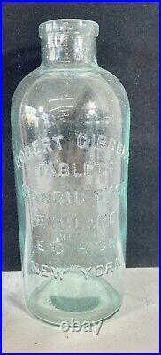 Vintage Robert Gibson's Tablets Medicine Bottle 13in tall England NY 1880s