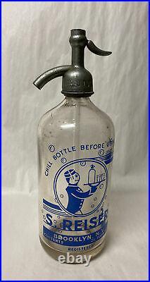 Vintage S. Reiser Seltzer Syphon Bottle Brooklyn New York Blue Art Deco Waiter