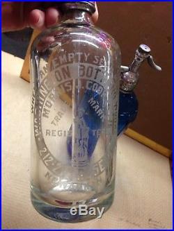 Vintage SELTZER BOTTLES Blue Clear NY & NJ Statue Of Liberty Hvy Duty