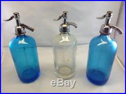 Vintage Seltzer Bottle Lot (3) Blue, Clear, and Blue NY area Bottles