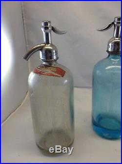 Vintage Seltzer Bottle Lot (3) Blue, Clear, and clear NY area soda bike bottle
