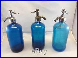 Vintage Seltzer Bottle Lot (3) Blue bottles NY area Bottles Water/Soda