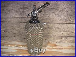 Vintage Seltzer Bottle Soda Siphon Wire Mesh Czech Glass Sparklets New York'30s