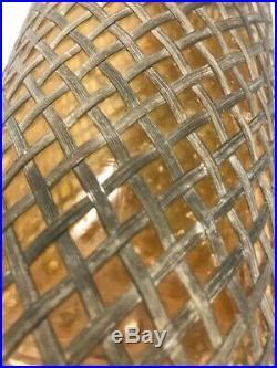 Vintage Seltzer Bottle Soda Siphon Wire Mesh Czech Glass Sparklets New York 30s