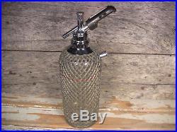 Vintage Sparklets Seltzer Bottle Soda Siphon New York'30s Wire Mesh Czech Glass