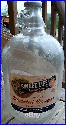 Vintage Sweet Life White Distilled Vinegar 1 gallon jug bottle, New York N. Y
