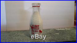 Vintage Very Rare Rollin M. Moore Dairy Farm Old Glass Milk Bottle Canton, Ny