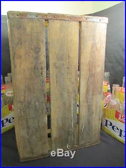 Vintage Wooden Pepsi Soda Pop Bottle Crate Carrier Wood Box With Bottles Utica NY
