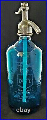 Vtg BLUE GLASS SELTZER BOTTLE COUNTY BEER NEW ROCHELLE NY with an EAGLE ETCHED