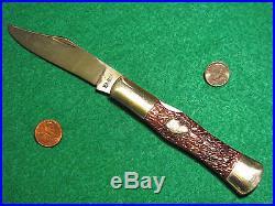Vtg NY Pocket Blade KA-BAR DOG Head COKE Bottle Knife #1 Thin Bone Case Handles