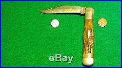 Vtg Pocket Hunt Blade Usa KA-BAR Coke Bottle Pat-Off N Y Knife #1 STAG fold case
