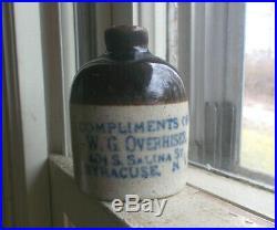 W. G. Overhiser 401 Salina St Syracuse, Ny 1905 Advertising Stoneware Mini Jug