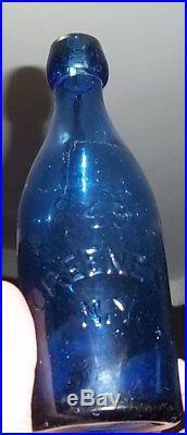W. T. & Co in Block Letters! Back 49 Greene St. NY cir 1870s Cobalt blue Bottle