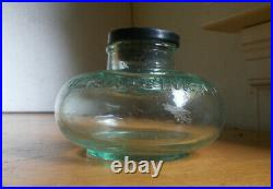 WILLIAMS INK NY RARE EMB 1880s UNIQUE SQUAT SHAPE INK BOTTLE WITH STOPPER