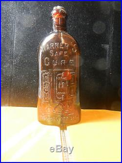 Warner's Safe Cure Rochester NY Amber Bottle Key Mold 1880s