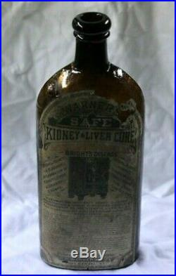 Warner's Safe Kidney & Liver Cure Amber Glass Bottle with Paper Label Rochester, NY