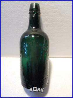 Whittled Emerald Green Pavilion Aperient Saratoga NY Mineral Spring Water Bottle