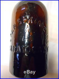 Whittled Pint Amber Star Spring Saratoga New York Mineral Spring Water Bottle