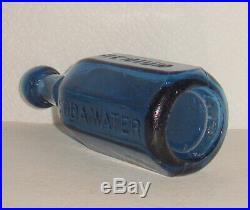 Wm EAGLE / NEW YORK / PREMIUM / SODA WATER / PANELED BLUE / GRAPHITE PONTIL