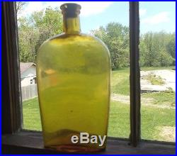 YELLOW CITRON HAGERTY GLASSWORKS N. Y. QUART WHISKEY FLASK 1870s APPLIED LIP RARE
