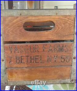 Yasgur Farms Bethel NY wooden quart milk crate Woodstock Festival
