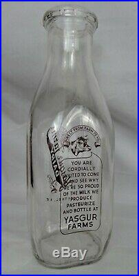 Yasgur Quart Dairy Milk Bottle 1966 Pre Woodstock 1969 Bethel NY Excellent cond