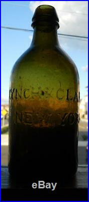 Yellow Olive Green Lynch & Clarke Saratoga New York Mineral Spring Water Bottle